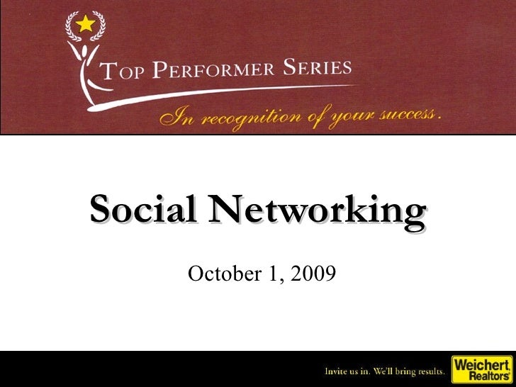 Social Networking October 1, 2009