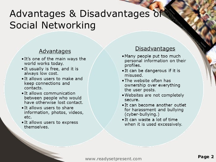 advantages and disadvantages of using social networking essay Get the facts about the pros and cons of social networking for teenagers, and learn how you can help your teen have safe and positive online experience.