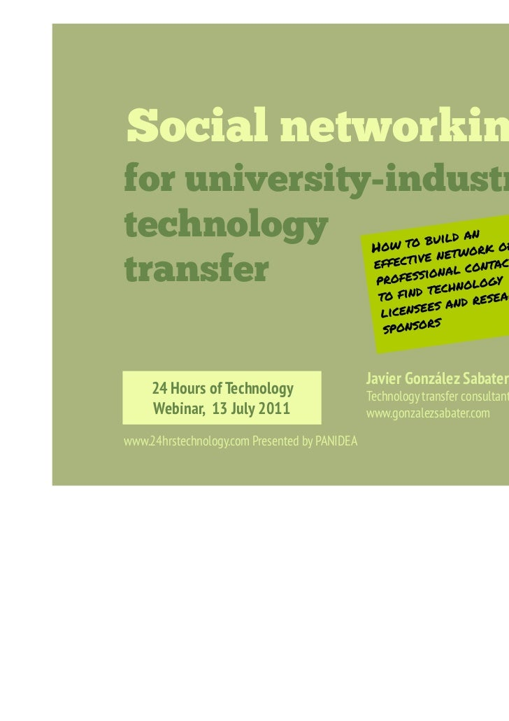 Social networking           for university-industry           technology           transfer                               ...