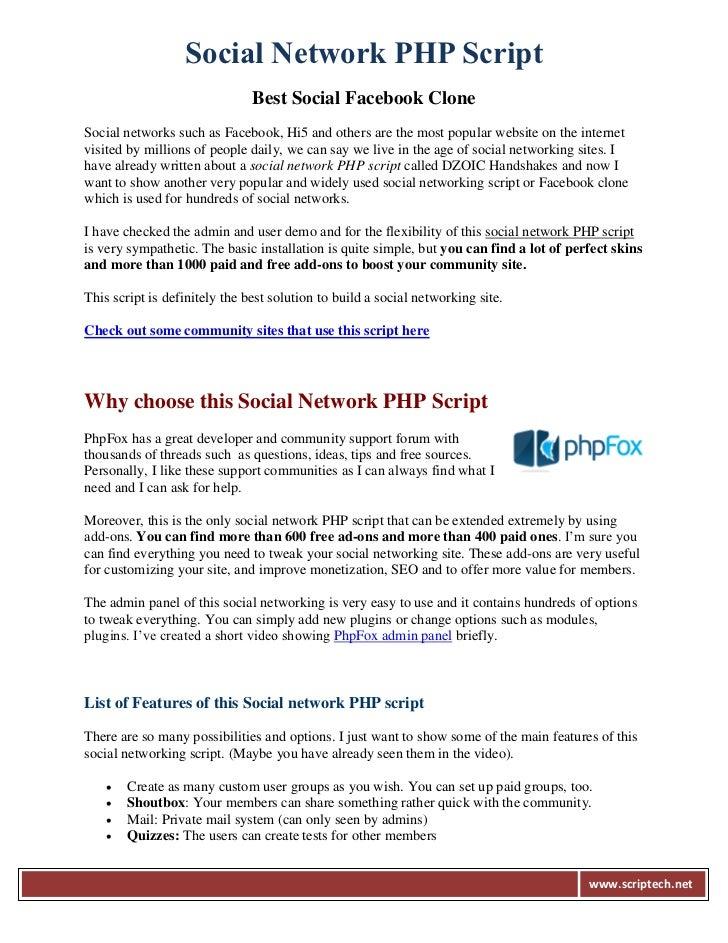 Social Network PHP Script                               Best Social Facebook CloneSocial networks such as Facebook, Hi5 an...