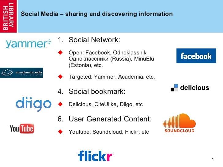 Social Media – sharing and discovering information <ul><li>Social Network:  </li></ul><ul><li>Open: Facebook,  Odnoklassni...