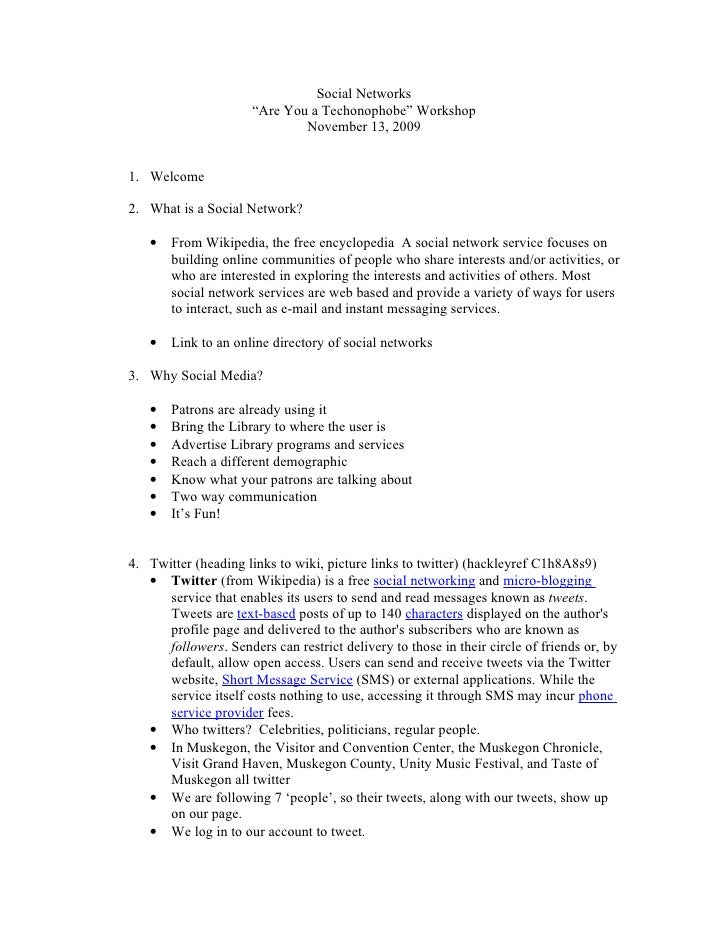 """Social Networks                       """"Are You a Techonophobe"""" Workshop                               November 13, 2009   ..."""