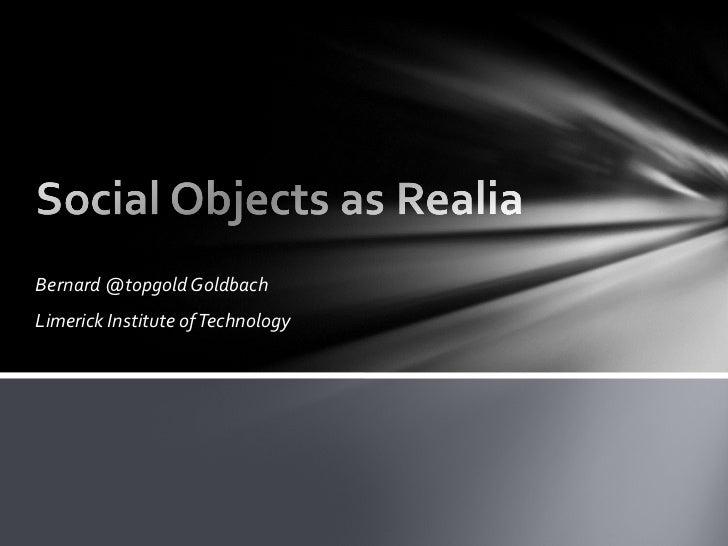 Social Objects as Realia