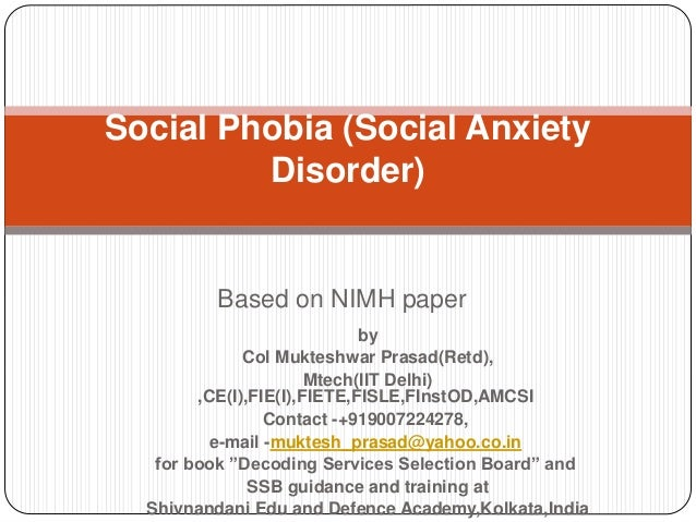 Essay on social phobia