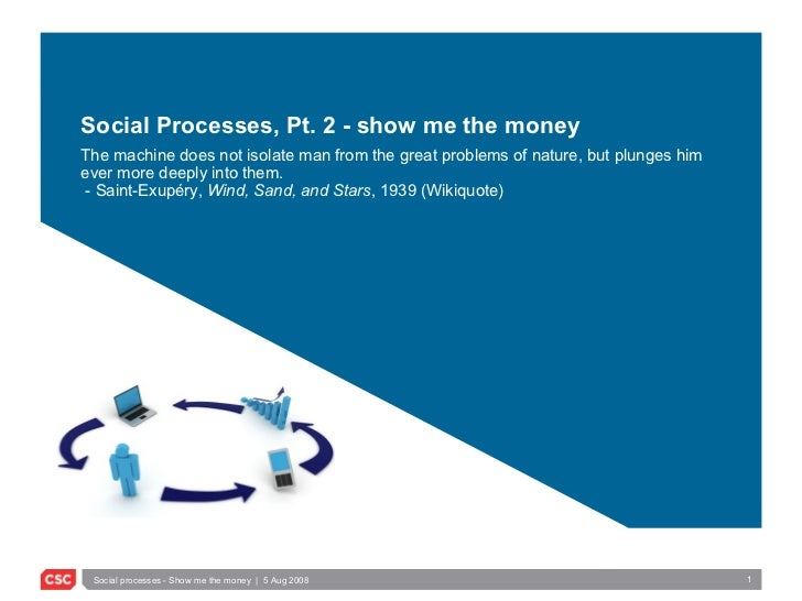 Social Processes, Pt. 2 - show me the money The machine does not isolate man from the great problems of nature, but plunge...