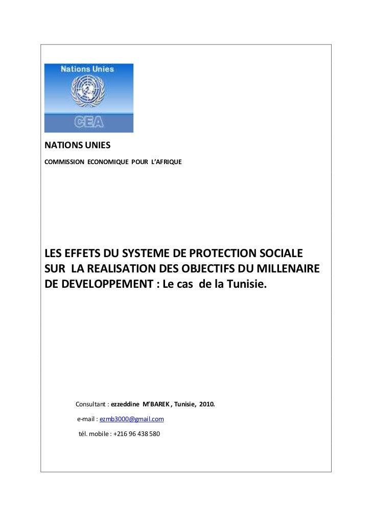 NATIONS UNIESCOMMISSION ECONOMIQUE POUR L'AFRIQUELES EFFETS DU SYSTEME DE PROTECTION SOCIALESUR LA REALISATION DES OBJECTI...