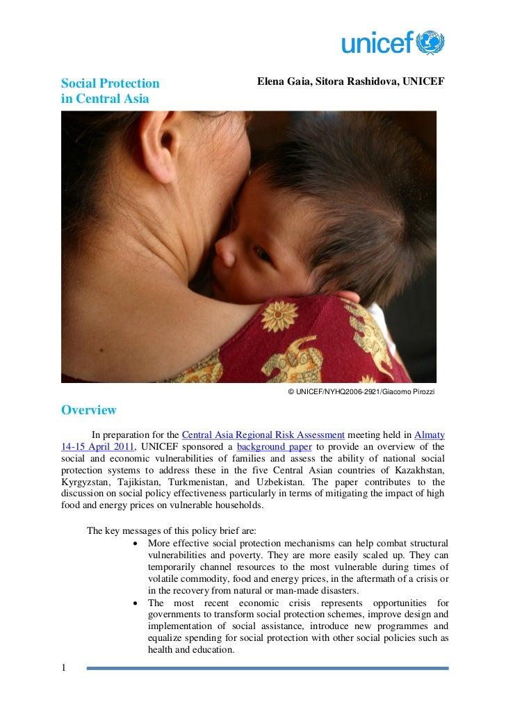 Social Protection                                Elena Gaia, Sitora Rashidova, UNICEFin Central Asia                      ...