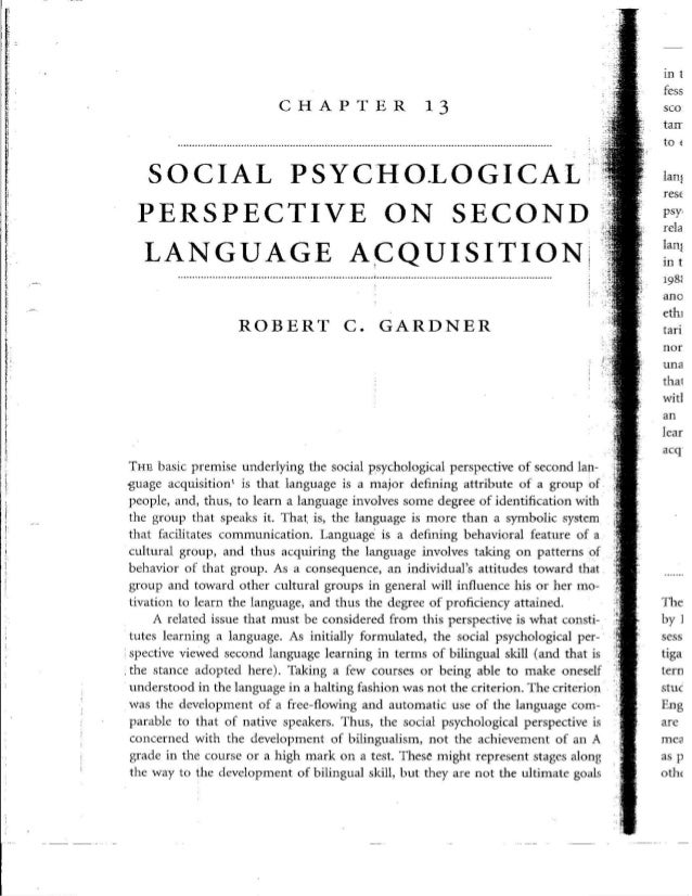 Social psychological perspective on second language acquisition