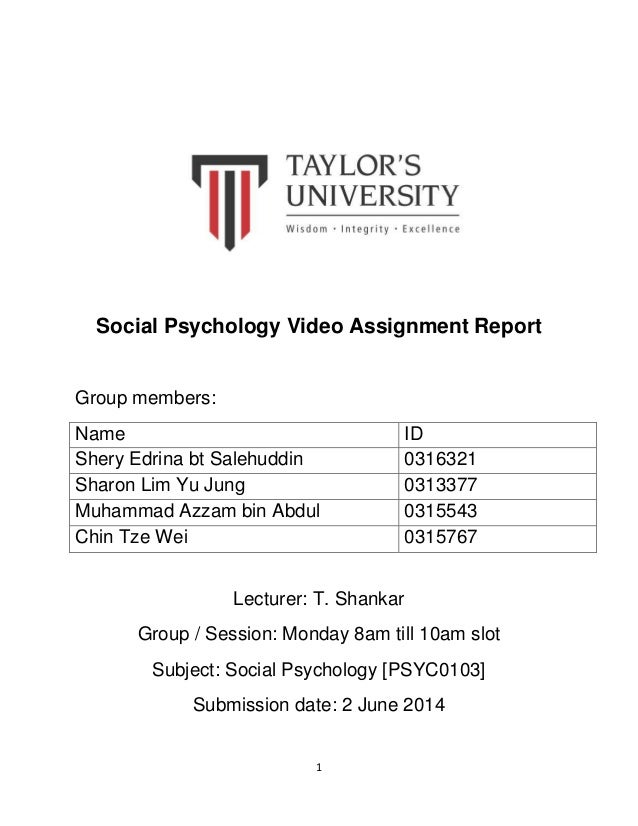 Social psychology assignments