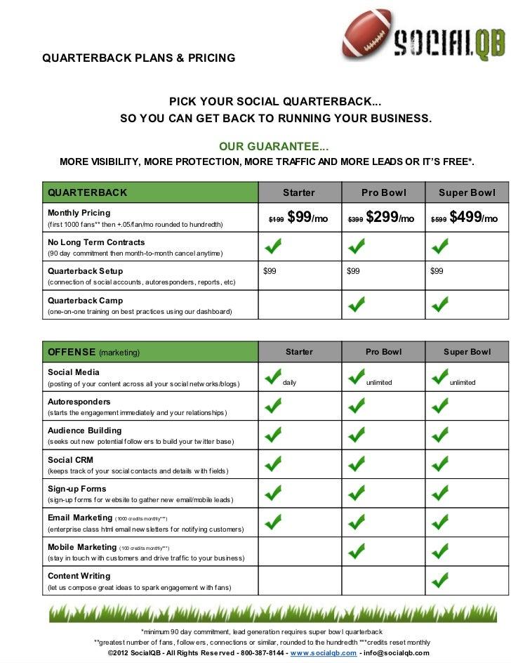 QUARTERBACK PLANS & PRICING                                PICK YOUR SOCIAL QUARTERBACK...                         SO YOU ...