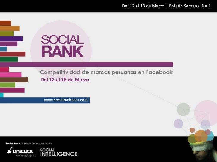 Del 12 al 18 de Marzo | Boletín Semanal N• 1Del 12 al 18 de Marzo www.socialrankperu.com