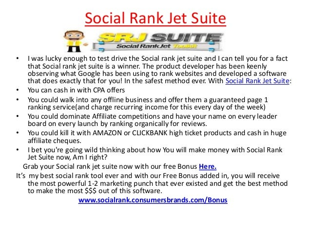 Social Rank Jet Suite•    I was lucky enough to test drive the Social rank jet suite and I can tell you for a fact     tha...