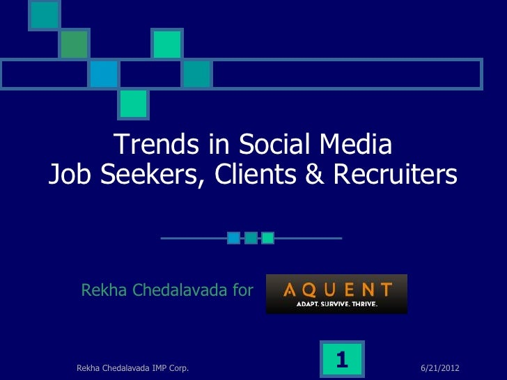Trends in Social MediaJob Seekers, Clients & Recruiters   Rekha Chedalavada for  Rekha Chedalavada IMP Corp.   1   6/21/2012