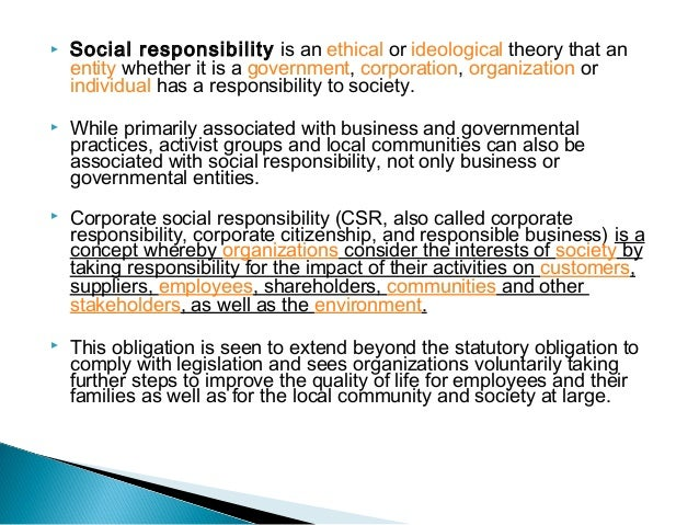 social responsibility on business planning essay As a result, csr has become more than an important issue in the business world   the research proposal is organised as follows the next sections provide a.
