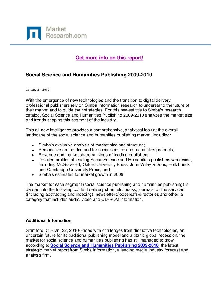 Get more info on this report!Social Science and Humanities Publishing 2009-2010January 21, 2010With the emergence of new t...