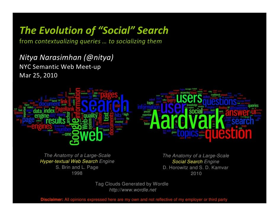 "The Evolution of ""Social"" Search from contextualizing queries … to socializing them  Nitya Narasimhan (@nitya) NYC Semanti..."