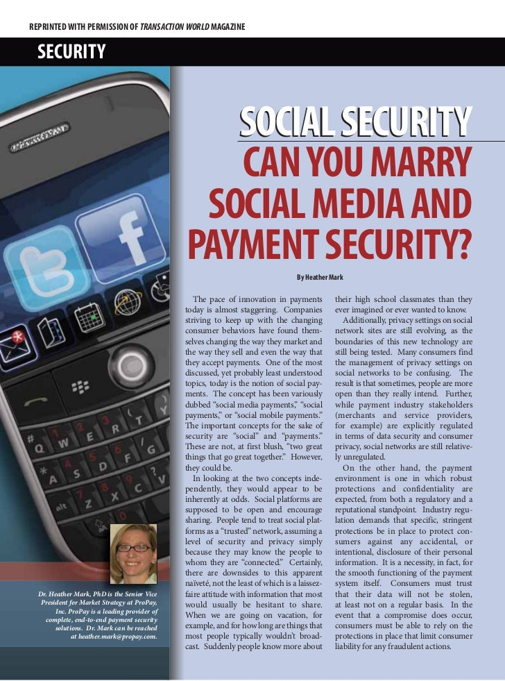 REPRINTED WITH PERMISSION OF TRANSACTION WORLD MAGAZINE  SECURITY                                                  SOCIAL ...