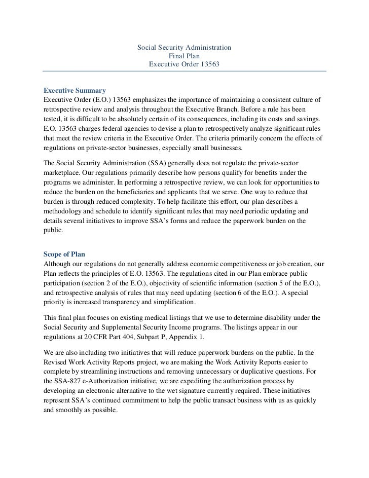 Social Security Administration Regulatory Reform Plan August 2011