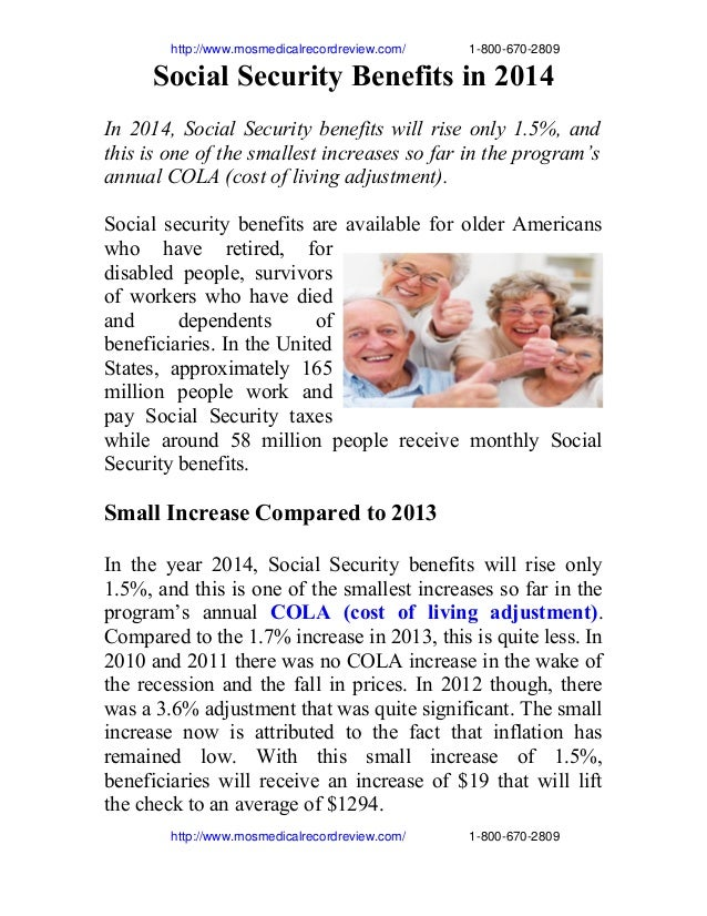 http://www.mosmedicalrecordreview.com/18006702809 Social Security Benefits in 2014...
