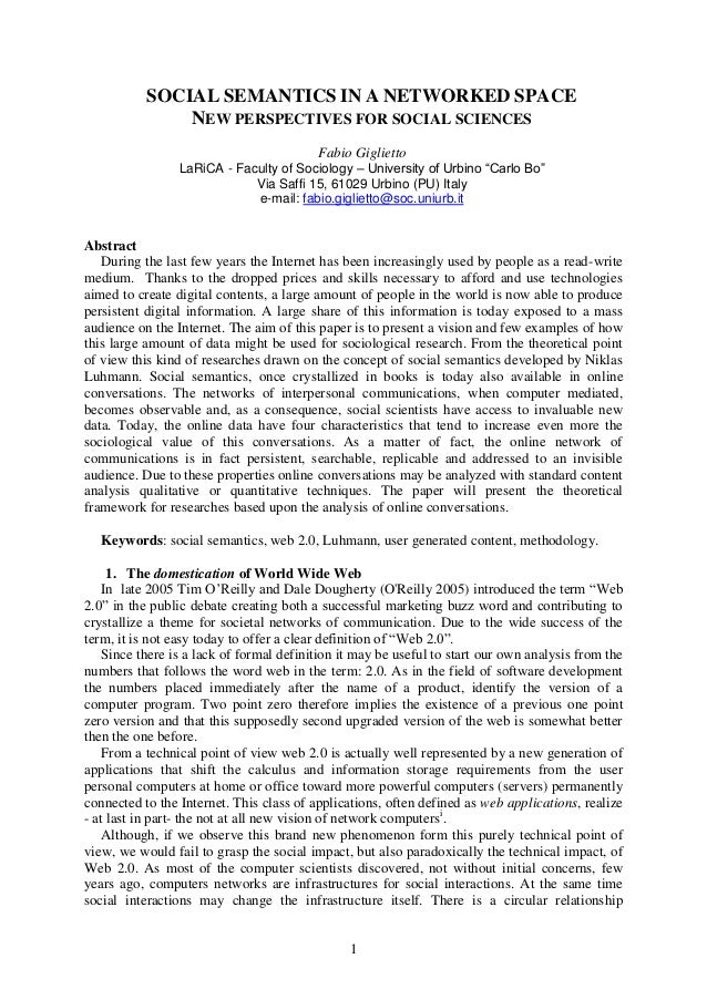 1 SOCIAL SEMANTICS IN A NETWORKED SPACE NEW PERSPECTIVES FOR SOCIAL SCIENCES Fabio Giglietto LaRiCA - Faculty of Sociology...