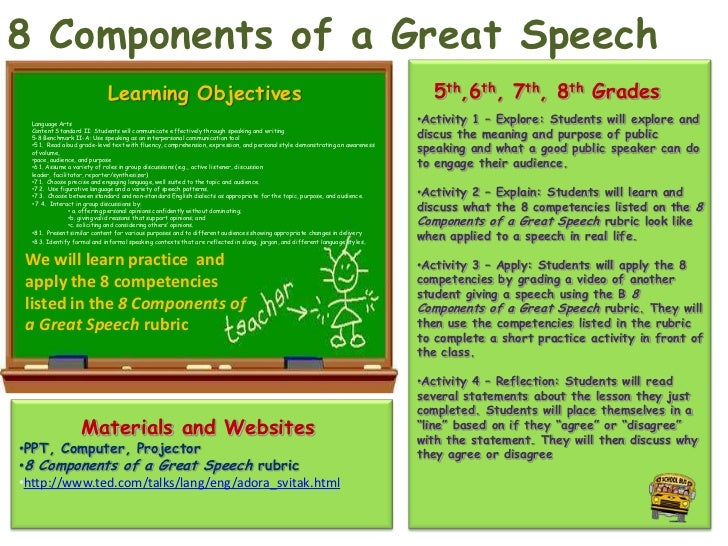 8 Components of a Great Speech                             Learning Objectives                                            ...
