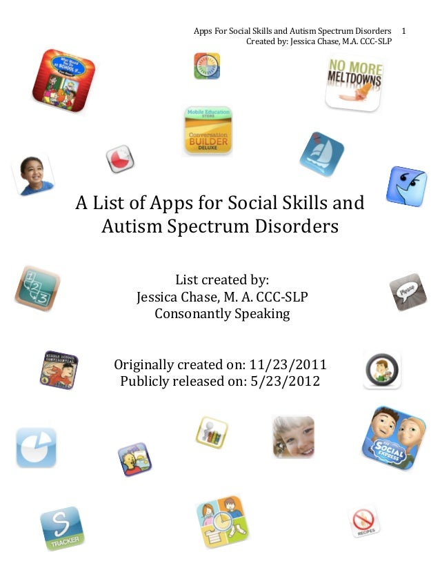 Apps For Social Skills and Autism Spectrum Disorders  1                                                 ...