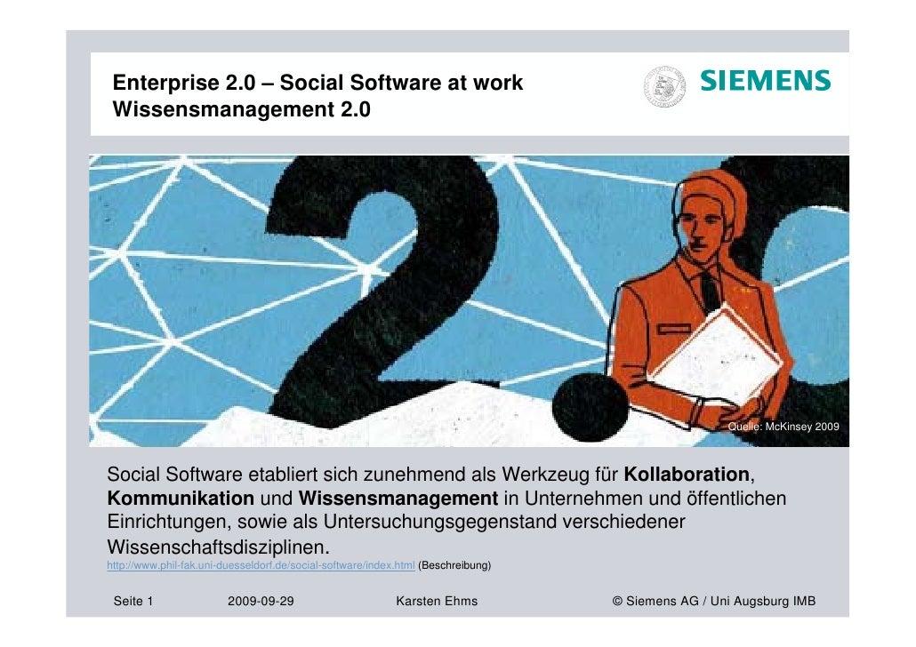 Enterprise 2.0 – Social Software at work  Wissensmanagement 2.0                                                           ...