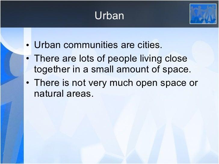 community types  urban  rural and suburban