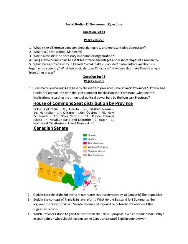 Social Studies 11 Government QuestionsQuestion Set #1Pages 220-2261. What is the difference between direct democracy and r...
