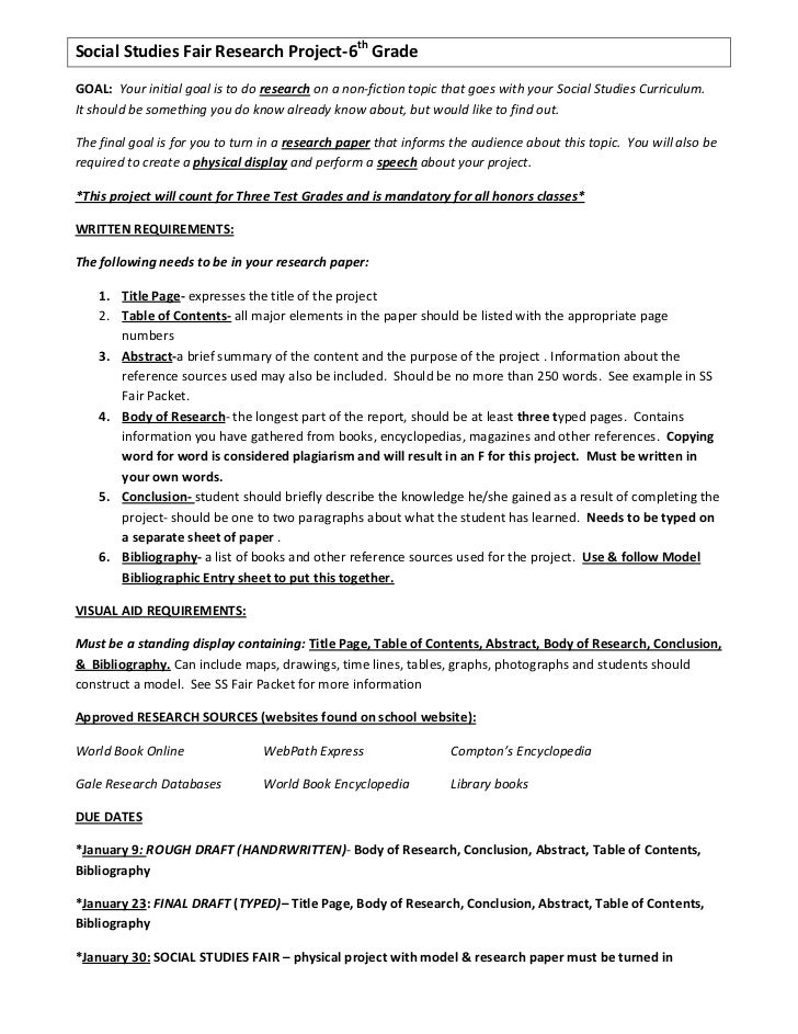 research paper science fair outline