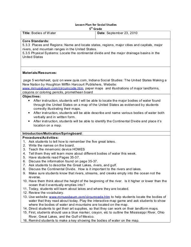Lesson Plan for Social Studies5thGradeTitle: Bodies of Water Date: September 23, 2010Core Standards:5.3.3 Places and Regio...