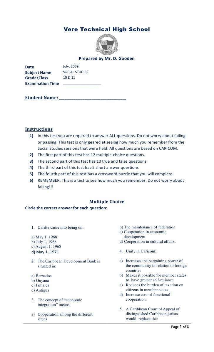 Vere Technical High School <br />2562225-142240<br />Prepared by Mr. D. Gooden<br />DateJuly, 2009Subject NameSOCIAL STUDI...