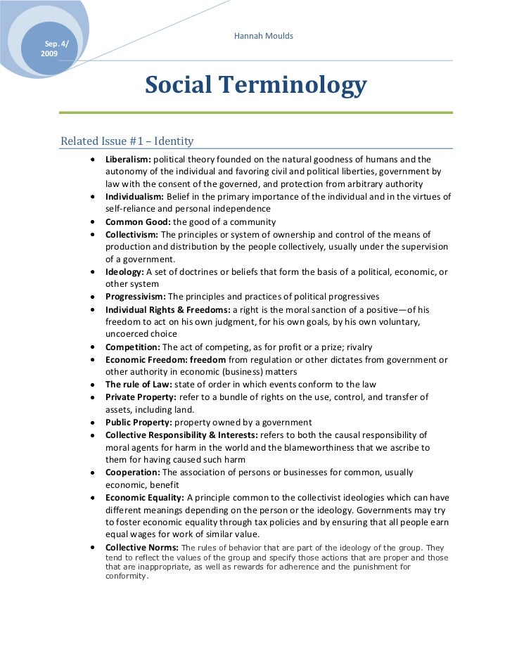 Social Terminology<br />Related Issue #1 – Identity <br />Liberalism: political theory founded on the natural goodness of ...