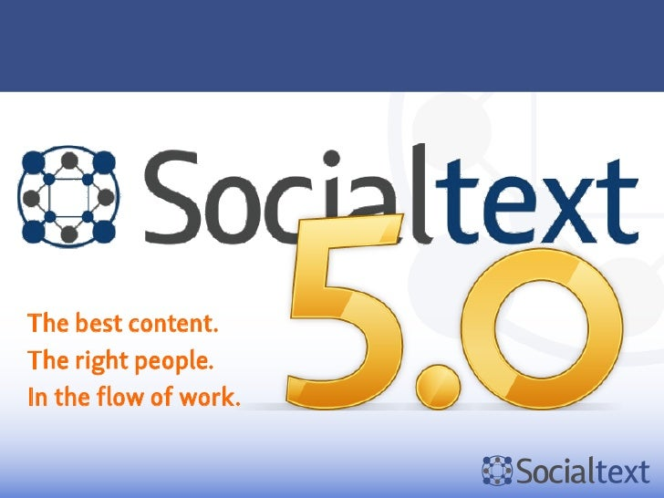 SocialtextThe best content.The right people.In the flow of work.