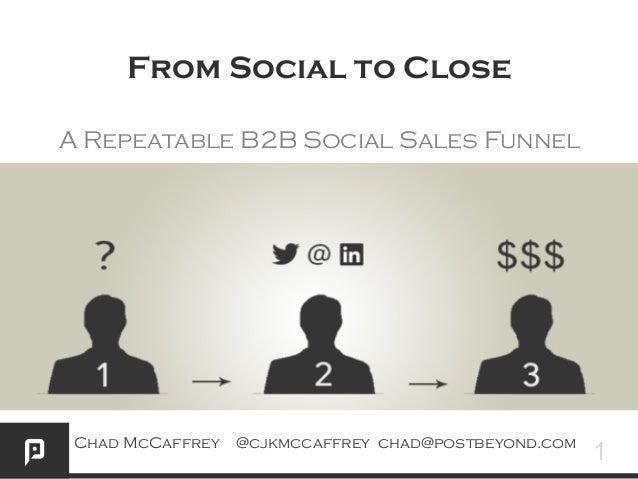 From Social to Close A Repeatable B2B Social Sales Funnel  Chad McCaffrey @cjkmccaffrey chad@postbeyond.com  1