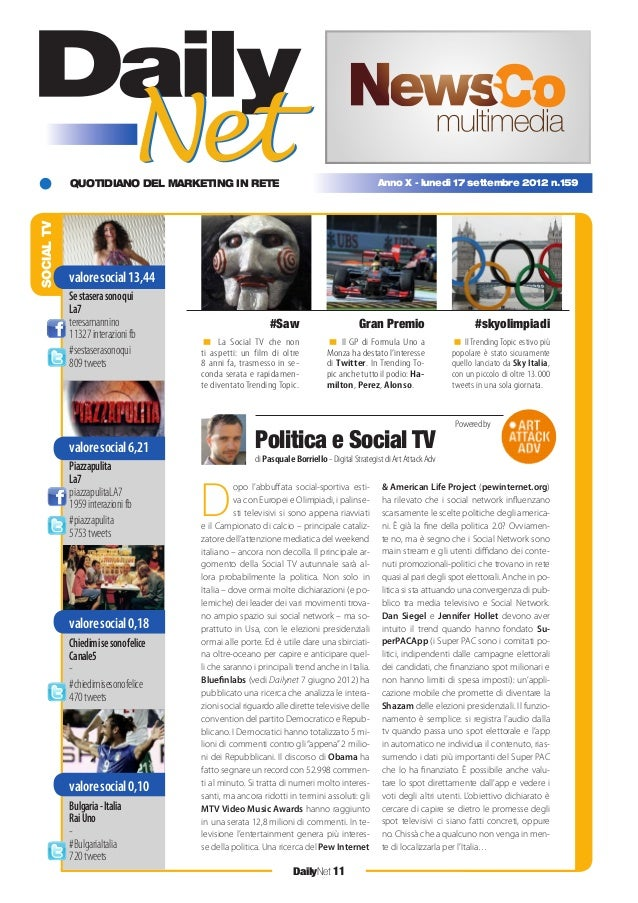 QUOTIDIANO DEL MARKETING IN RETE DailyNet 11 Anno X - lunedì 17 settembre 2012 n.159 SOCIALTV < La Social TV che non ti as...