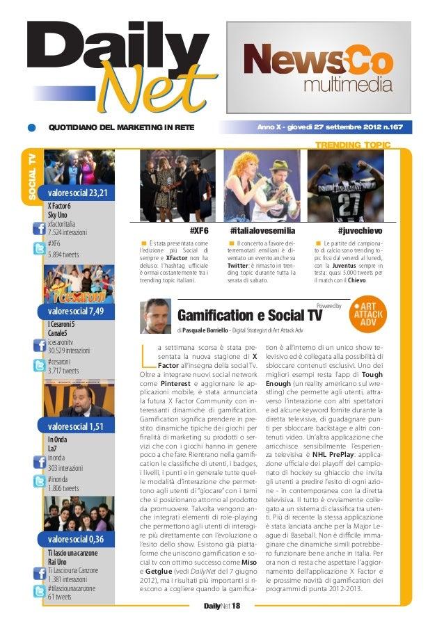 QUOTIDIANO DEL MARKETING IN RETE DailyNet 18 Anno X - giovedì 27 settembre 2012 n.167 SOCIALTV TRENDING TOPIC < È stata pr...