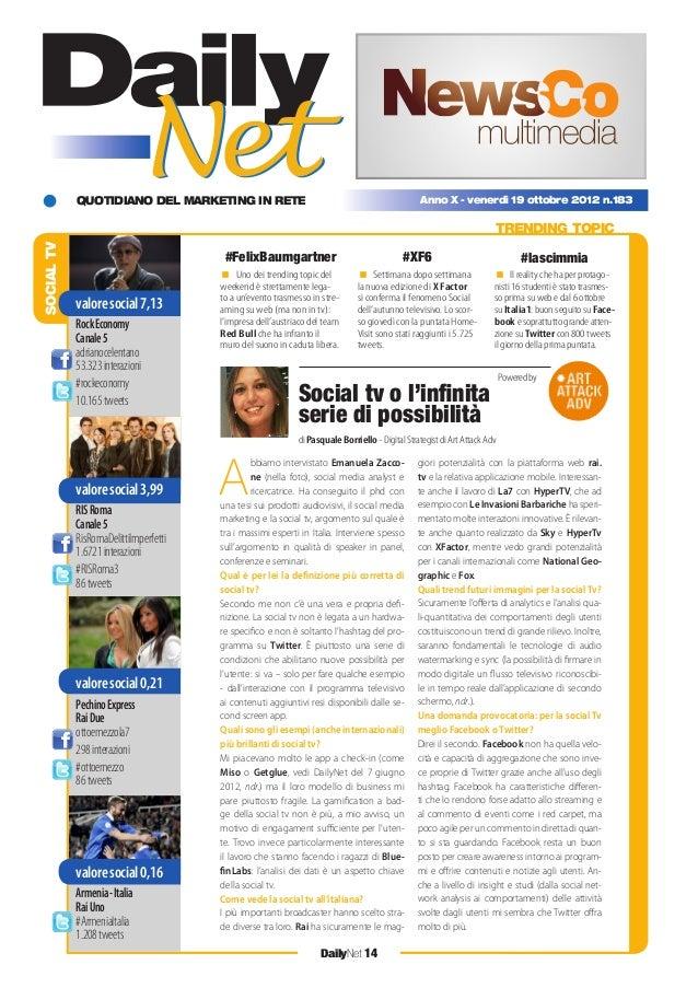 QUOTIDIANO DEL MARKETING IN RETE DailyNet 14 Anno X - venerdì 19 ottobre 2012 n.183 SOCIALTV TRENDING TOPIC Social tv o l'...