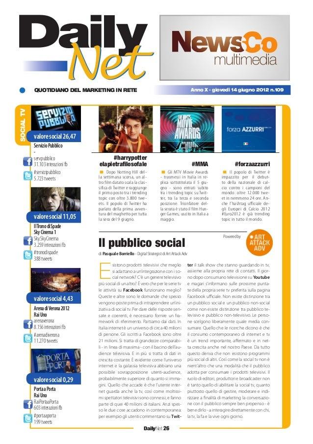 QUOTIDIANO DEL MARKETING IN RETE DailyNet 26 Anno X - giovedì 14 giugno 2012 n.109 SOCIALTV < Dopo Notting Hill del- la se...