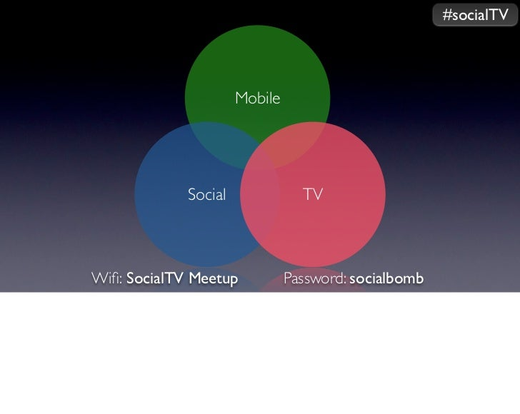 #socialTV                      Mobile             Social              TVWifi: SocialTV Meetup           Password: socialbomb
