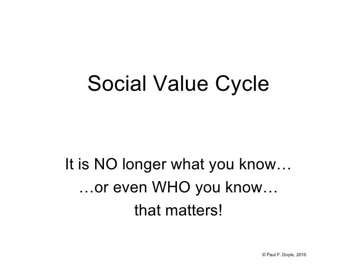 Social Value Cycle It is NO longer what you know… … or even WHO you know… that matters! © Paul F. Doyle, 2010