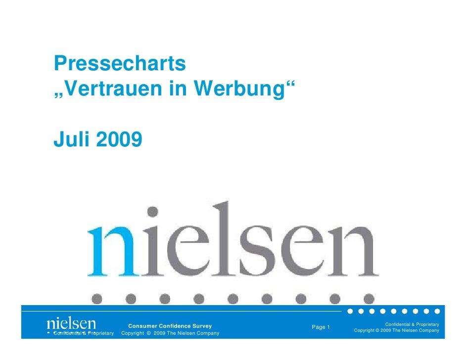 "Pressecharts ""Vertrauen in Werbung""  Juli 2009                                    Consumer Confidence Survey              ..."