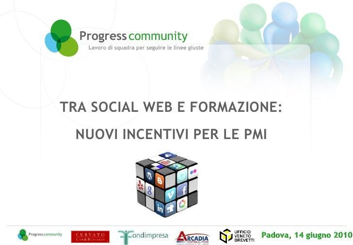 Padova, 14 giugno 2010  TRA SOCIAL WEB E FORMAZIONE:  NUOVI INCENTIVI PER LE PMI