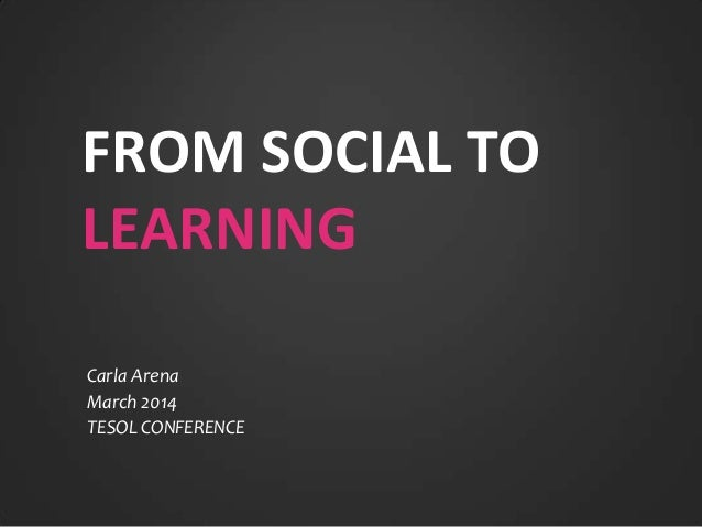 FROM SOCIAL TO LEARNING Carla Arena March 2014 TESOL CONFERENCE