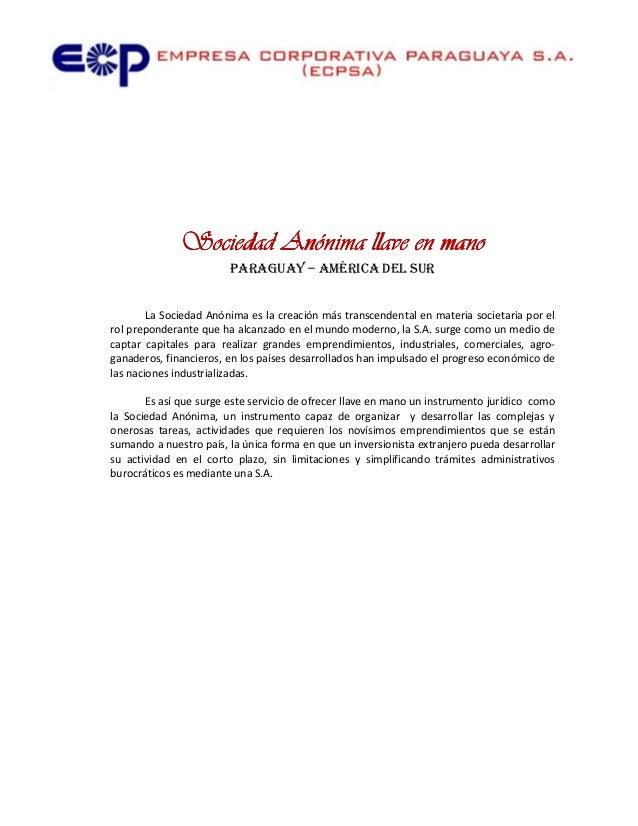 Vendo Sociedad anónima llave en mano en Paraguay