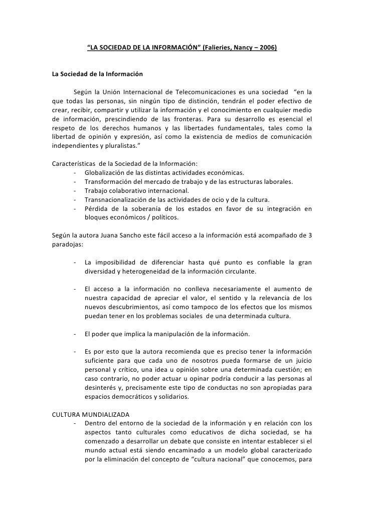 """""""LA SOCIEDAD DE LA INFORMACIÓN"""" (Falieries, Nancy – 2006)La Sociedad de la Información        Según la Unión Internacional..."""