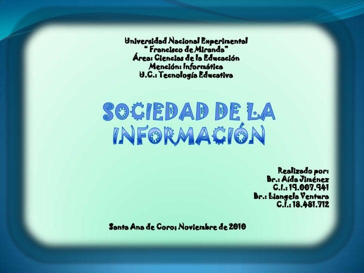 """Universidad Nacional Experimental<br />"""" Francisco de Miranda""""<br />Área: Ciencias de la Educación<br />Mención: Informáti..."""