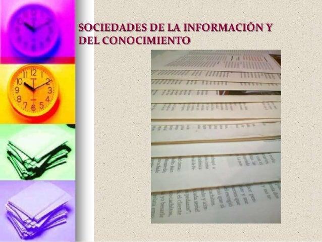 SOCIEDADES DE LA INFORMACIÓN YDEL CONOCIMIENTO