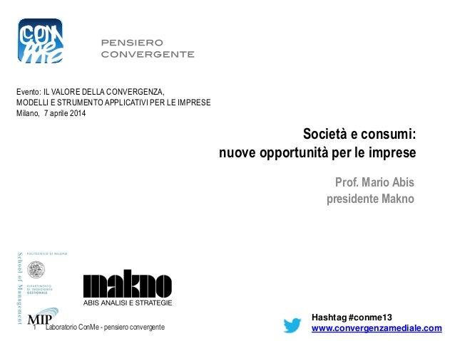 Società e consumi: nuove opportunità per le imprese Prof. Mario Abis presidente Makno Evento: IL VALORE DELLA CONVERGENZA,...