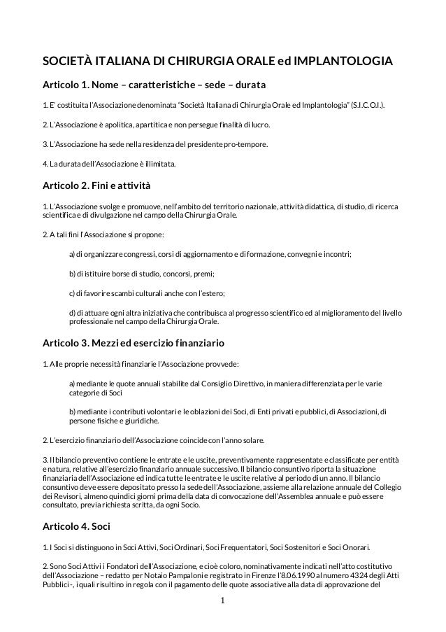 Società italiana di chirurgia orale ed implantologia   statuto